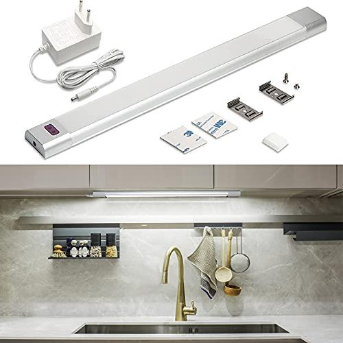 WOBANE Unterbauleuchte küche LED Dimmbar,Heller Lichtleiste mit Sensor,30cm LED küchenbeleuchtung unterbau,6000K Kaltweiss UnterSchrank Beleuchtung,für Schrank,Regale,Vitrinen,Kleiderschrank