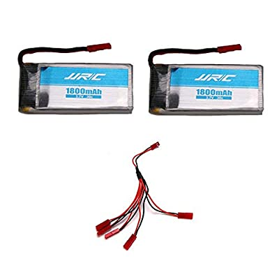 INKPOT Spare Parts for JJRC H68 Batteries 2PCS 3.7V 1800mAh Batteries with 5 in 1 cable Accessories (2 batteries+5 in 1 Cable)