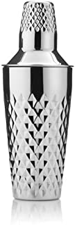 Cocktail Shaker Bottle, Faceted Stainless Steel Silver Vintage Cocktail Shaker (Sold by Case, Pack of 6)