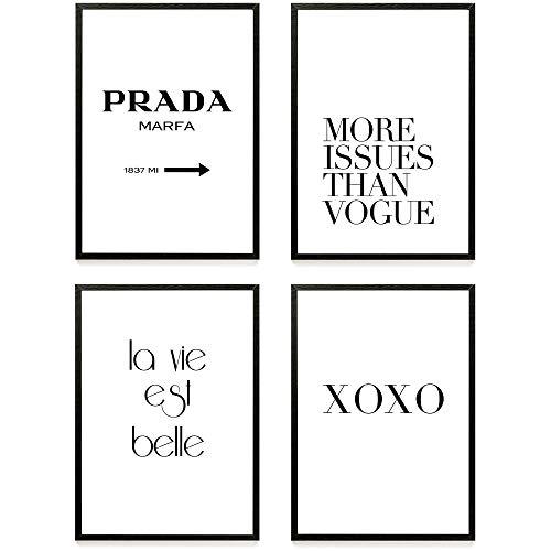 Heimlich ® Premium Poster Set | Stilvolles Set mit passenden Bilder in Schwarz-Weiß | 4 Stück in DIN A4 (21x30cm) | Ohne Bilderrahmen » Fashion Marfa «