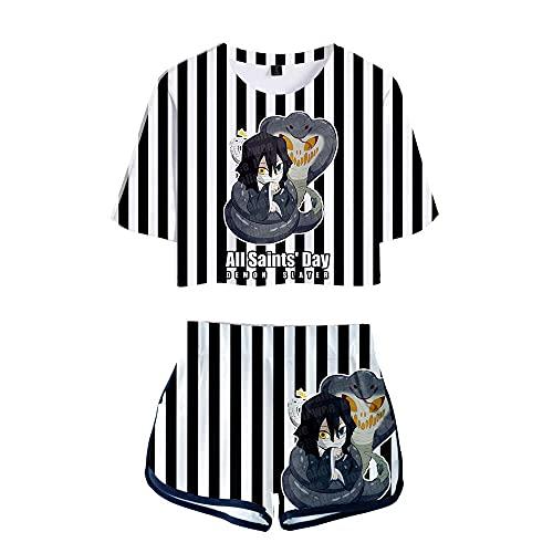 Camiseta de moda para mujer D-emon Slayer con pantalones cortos 2 piezas conjunto de chándal para niñas y mujeres