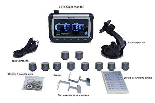 EEZTire-TPMS Real Time/24x7 Tire Pressure Monitoring System (TPMS10) - 10 Anit-Theft Sensors, incl. 3-Year Warranty