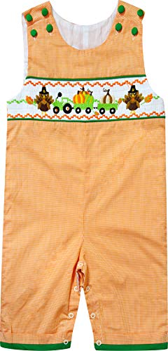 Baby Boys Thanksgiving Turkey Pumpkin Truck Faux-Smocked Longall Overall Orange Gingham 18-24M (Smocked Whale)