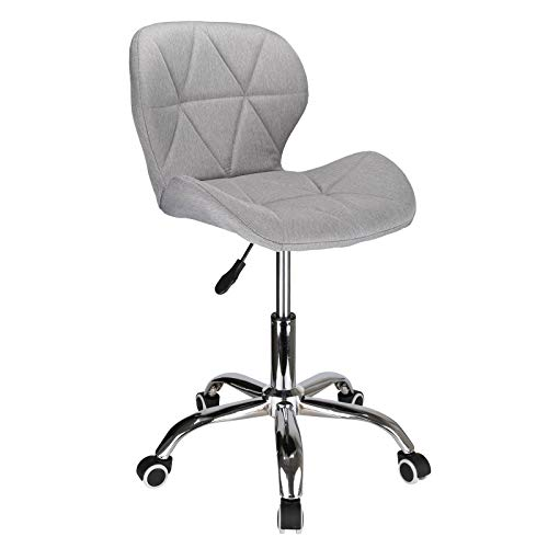 Shoze Grey Desk Chair Comfy Office Chair Cushioned Computer Desk Chrome Legs Wheels Furniture Adjustable Height for Bedroom Home Office