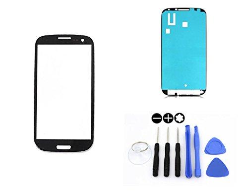 R.P.L. FRONTGLAS Set passend für Samsung Galaxy S3 Schwarz Black i9300 i9305 / Frontglas/Glas/Displayglas/LCD Reparatur/LCD Display/Klebefolie/Glass Replacement / 8 - Teiliges Werkzeugset