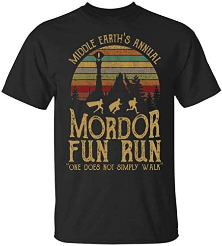 Eastry Middle Earth s Annual Mordor Fun Run one Does not Simply Walk T Shirt for Men Black product image