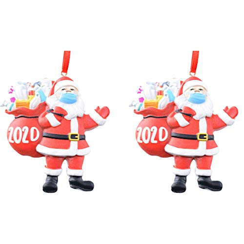 PIKAqiu33 Home Decor, 2020 Christmas Ornament Santa Wearing A Face Cover Decorate Christmas Tree, Products for New Year (A)