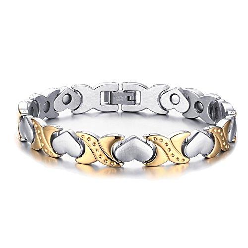 JewelryWe Schmuck Edelstahl Armband Magnetarmband Liebe Herz Link Gesundheit Magnet Partnerarmband Damenarmband Armreif Gold Silber, 20cm Breite 9.5mm