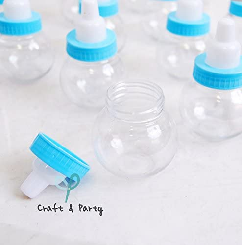 """Craft and Party 3"""" Mini Plastic Milk Bottle Fillable Baby Shower Favor Decoration (Blue)"""