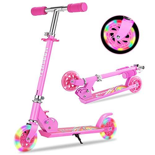 TENBOOM Roller Kinder Scooter 6 Jahre, 2 LED aufleuchten Räder Tretroller Kinder Roller Mädchen Jungen Klappbar höhenverstellbar hinterradbremse Roller für 3-10 Jahre
