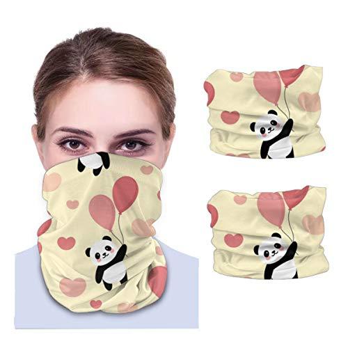 Unisex 2pcs Magic Stirnband Bandanas Cute Panda Flying with Pink Ballon Uv Protection Neckerchief for Riding Running Headwear