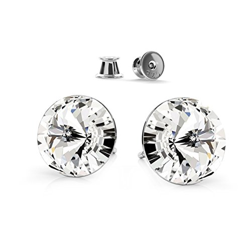 *Farfalla Rossa* - Silber 925 Ohrstecker - Circle Space - Colour Crystal - Ohrringe mit Kristallen von Swarovski® - Schön Ohrringe Damen Ohrstecker - Wunderbare Ohrringe mit Schmuckbox