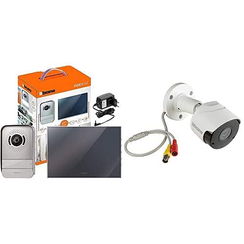 BTicino Kit Videocitofono 2 Fili Monofamiliare + Telecamera Videosorveglianza, IP66, Compatibile con Kit Videocitofoni