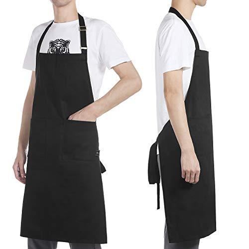 BONTHEE Schürze Kochschürze mit Taschen Schwarz Chef Kochschürze 100% Baumwolle Waschbar und Pflegeleicht
