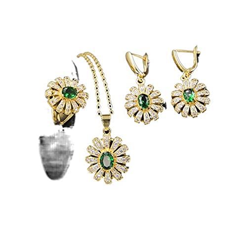 N\C Cena de la boda verde adorno de cristal tres conjuntos circón pendientes collar joyería conjunto 010