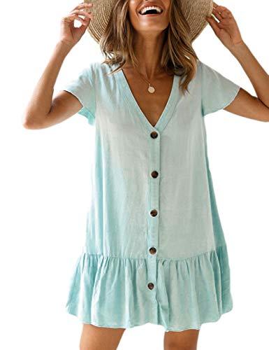 Bsubseach Women Light Blue Short Sleeve Beach Tunic Dress Loose V Neck Swimsuit Cover Up Beachwear