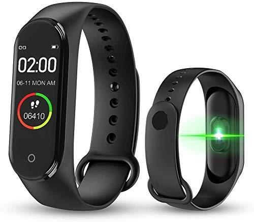 Reloj Inteligente,M4 Pulsera de Actividad,Monitores de actividad,Reloj Deportivo de Salud con Monitor de Frecuencia Cardíaca y Sueño, ,Contador de Calorías,Podómetro,Notificación de mensajes,Negro