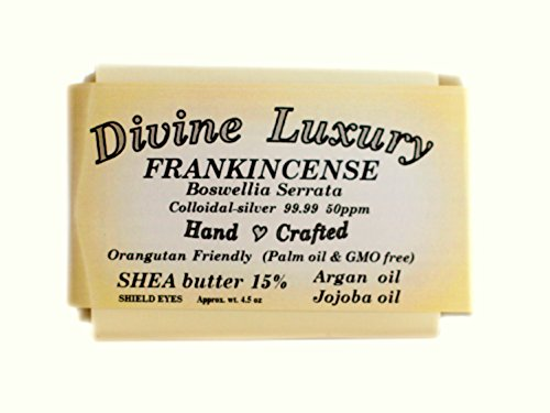 Colloidal Silver Soap Bar Frankincense (Essential Oil) DivineLuxurySoap - All Natural, No Palm Oil, Feel Clean, Safe, Bubbly