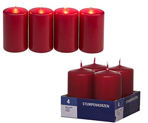 Smart-Planet Kerzen Ambiente - 4er Pack dunkel rote Stumpenkerzen - dekorative Kerze Bordeaux 8 cm hoch Ø 4,8 cm - Wachskerze im Set