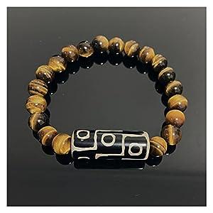 Natürliche tibetische Dzi Agate Armbänder Heilung Schmuck Buddha Gebet neunäugig Charme Gelb Tiger Eye Edelsteine ??Stein Armbänder Männliche Böse Spirituosen Geld Zeichnung Reichtum Vermögen