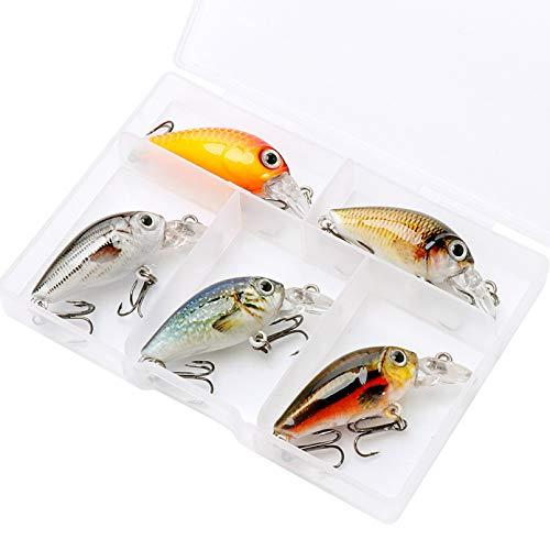 DEDEA Señuelo de Pesca 5 unids/Lote Mini Wobblers Pike Juego de señuelos de Pesca 36mm 3,6g Crankbait Minnow señuelo Cebo Artificial Duro con Caja de Aparejos de Pesca