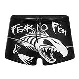 Fear No Fish Men Swimwear Boxer Briefs Swim Shorts Black