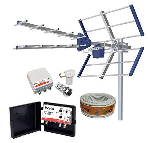 Kit Amplificado Antena TV Compact 5G + Rollo 20M TELEVES + Amplificador 40dB UHF/VHF + Fuente alimentación + Conectores F Y TV.