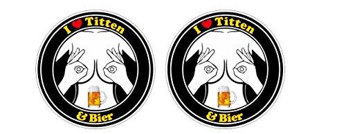 Shopping-World-Thailand Love Titten und Bier Aufkleber Beer Motorcycle Bike Sticker/Plus Schlüsselringanhänger aus Kokosnuss-Schale/Auto Motorrad Laptop Tuning Racing Motorsport Helm