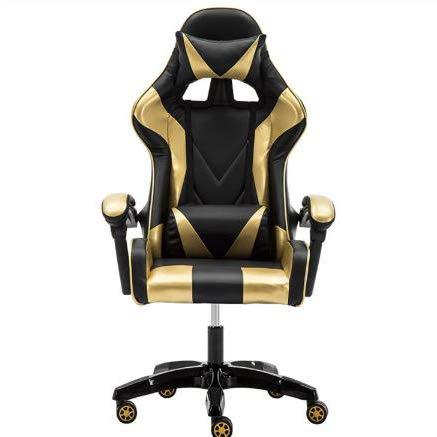 LWZ Sillas de Juego, sillas de Oficina, sillas giratorias robustas y ergonómicas, sillas con Cojines y respaldos Ajustables, sillas con reposapiés retráctiles (Negro y Rojo),Black Gold
