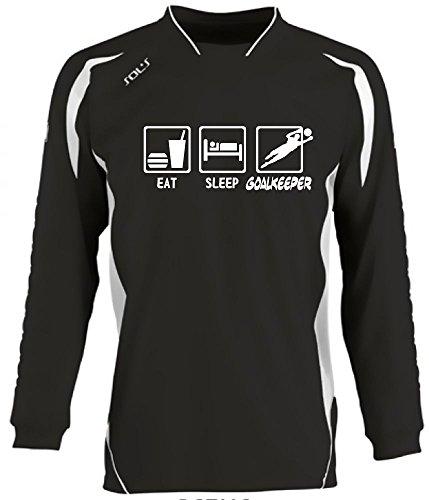 Coole-Fun-T-Shirts Torwart EAT Sleep Torwart Kinder Torwarttrikot schwarz, Kids 10-12 Jahre