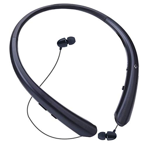 LINYY Bluetooth Headphones Wireless Neckband Headset Retractable Earbuds Sports Sweat-Proof Noise Cancelling Stereo Earphones with Mic for Bluetooth Enabled Devices (Black)