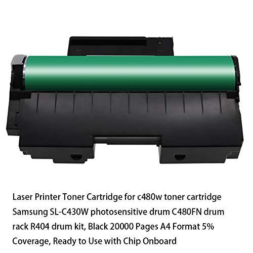 Impresora láser Cartucho de tóner para cartucho de tóner c480w Samsung SL-C430W tambor fotosensible C480FN rack de tambor R404 kit de batería, negro 20000 páginas Formato A4 5% de cobertura, list
