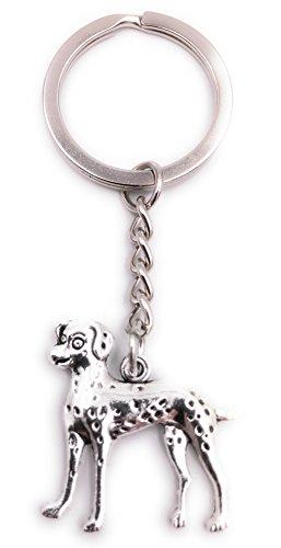H-Customs Perro dálmata Perro Mascota Llavero Colgante de Metal de Plata
