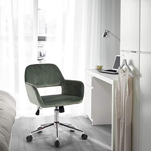 FurnitureR Silla tapizada para Oficina en el hogar con Respaldo Alto, Silla de Trabajo de Escritorio de Terciopelo de diseño Moderno con Brazos en el Dormitorio de Estudio, Altura Ajustable Cactus