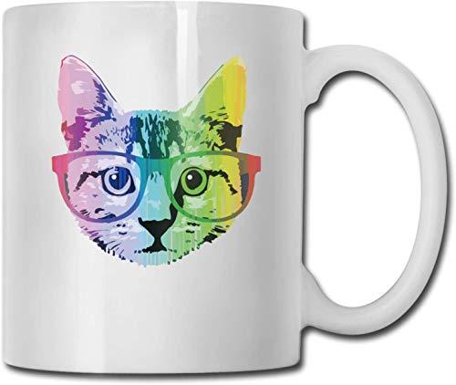 Taza de café blanca de cerámica única de gato arcoíris, taza de té para oficina, hogar, diversión, novedad, regalo, taza de bebida divertida de 11 oz para hombres y mujeres