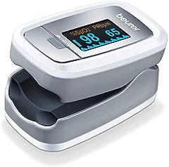Beurer PO 30 pulsoximeter (grijs/ wit, bepaling van de hartslag en arteriële zuurstofverzadiging)*