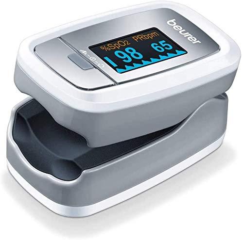 Beurer PO 30 - Pulsioxímetro de dedo para la medición de la saturación de oxigeno en la sangre y el pulso, 61 x 36 x 32 mm, 57 gr, color blanco y plata