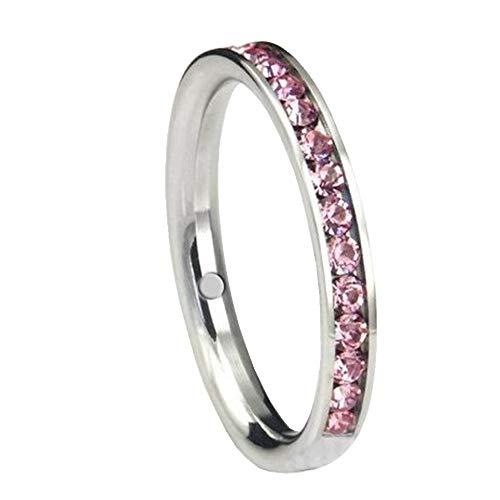 Magnetring mit glänzenden Swarovski Elements rosa pink Edelstahl poliert Energetix 4you Größe 19