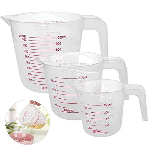 Jogoi 3Pcs Taza Medidora Vaso Medidor de Cocina Jarras Medidoras de Plástico de Medición (250+500+1000ML) Accesorios Herramientas de Cocina Esenciales con Agarre En ángulo