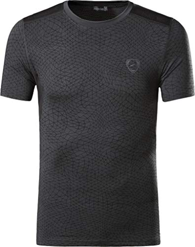 jeansian Herren Sportswear Quick Dry Short Sleeve Men's Tee T-Shirt Tops Tshirt LSL185 Darkgray M
