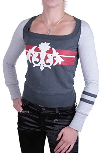 Diesel Damen Sweatshirt Shirt Sadery Weiß, Grau (XS, Grau)