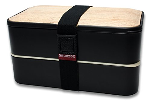 Product Image 6: THE ORIGINAL Japanese Bento Box (Upgraded 2020 Black & Bamboo Design) w/ 2 Dividers + Larger Utensils w/Holder – Leakproof Lunch Container