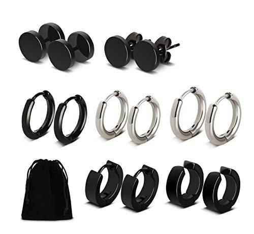 7 pares de pendientes de hombre de acero inoxidable unisex de plata negra con forma de aro para mujer
