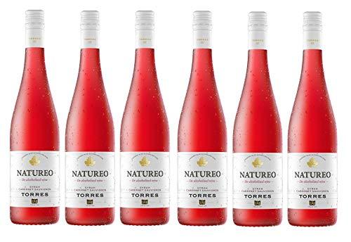 Natureo Syrah-Cabernet Sauvignon, Vino Rosado desalcoholizado - 6 botellas de 75 cl, Total: 4500 ml