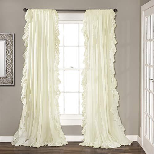 "Lush Decor C40287P15-000 Reyna Ivory Window Panel Curtain Set for Living, Dining Room, Bedroom (Pair), 84"" x 54"""