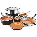COSTWAY 12-Piece Copper Non-Stick Cookware Set, Pots and Pans Set, Fry Pan, Casserole Pot, Stock Pot...