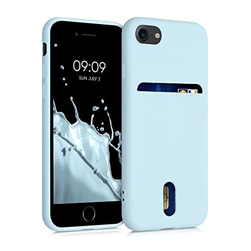 kwmobile Funda Compatible con Apple iPhone 7/8 / SE (2020) - Carcasa de Silicona con Tarjetero y Acabado de Goma - Azul Pastel