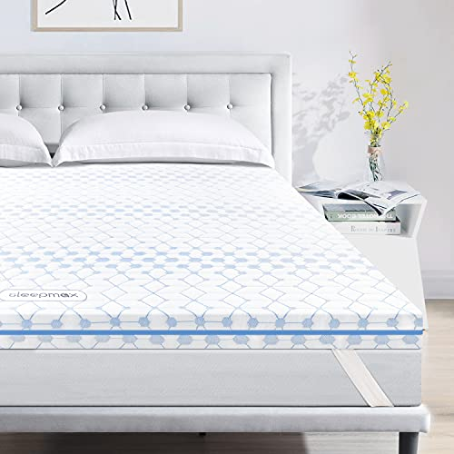 Sleepmax 4 Inch Full Size Memory Foam Mattress Topper, Gel Infused & 2-Layer Ventilated Design CertiPUR-US Certified Memory Foam Topper with Removable Cover for Cooling,Supportive & Pressure Relieving