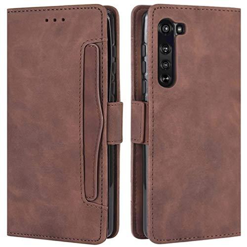 HualuBro Motorola Edge Hülle, Magnetischer R&umschutz, stoßfest, Flip Leder Wallet Hülle Cover mit Kartenschlitzen für Motorola Moto Edge 5G Handyhülle (braun)