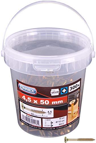 Connex B30111 - Vite per truciolari, con inserto Pozidriv, venduta in secchiello da 300 pezzi, 4,5 x 50 mm, zincato